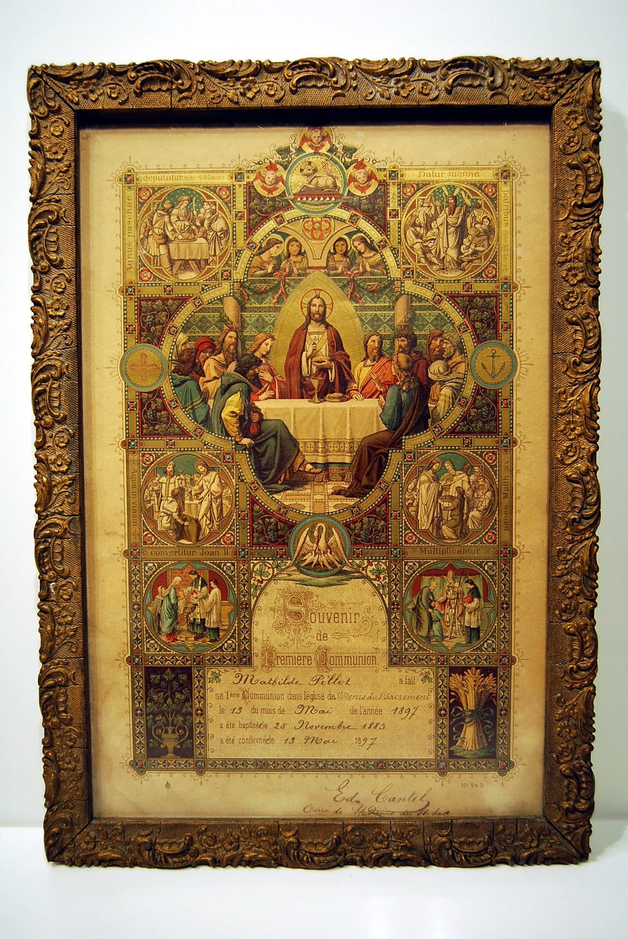 grande chromo souvenir premiere communion 1897 sign cur. Black Bedroom Furniture Sets. Home Design Ideas