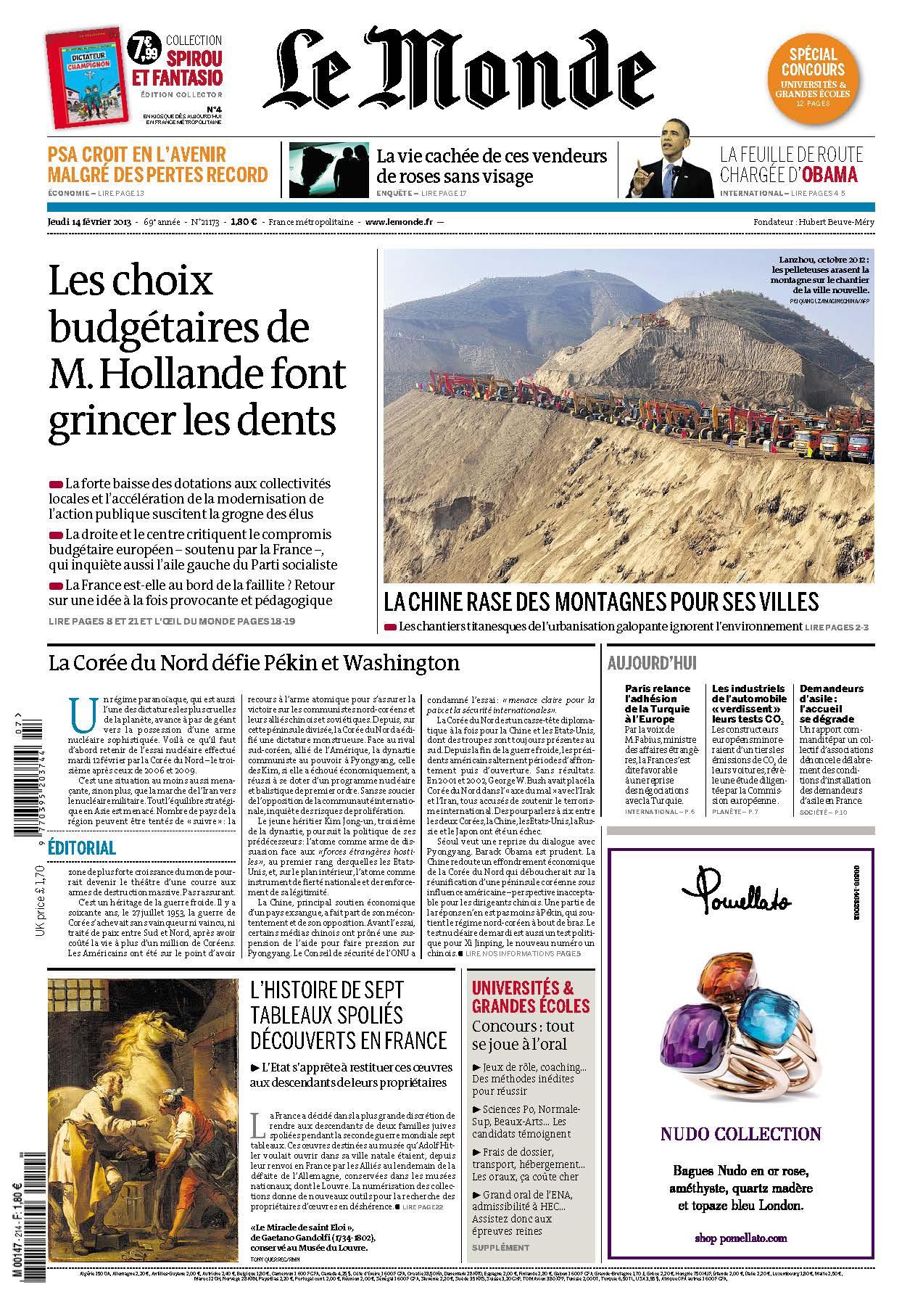 Le Monde Jeudi 14 février 2013