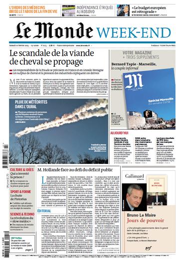 Le Monde et Supplément Samedi 29 Janvier 2013
