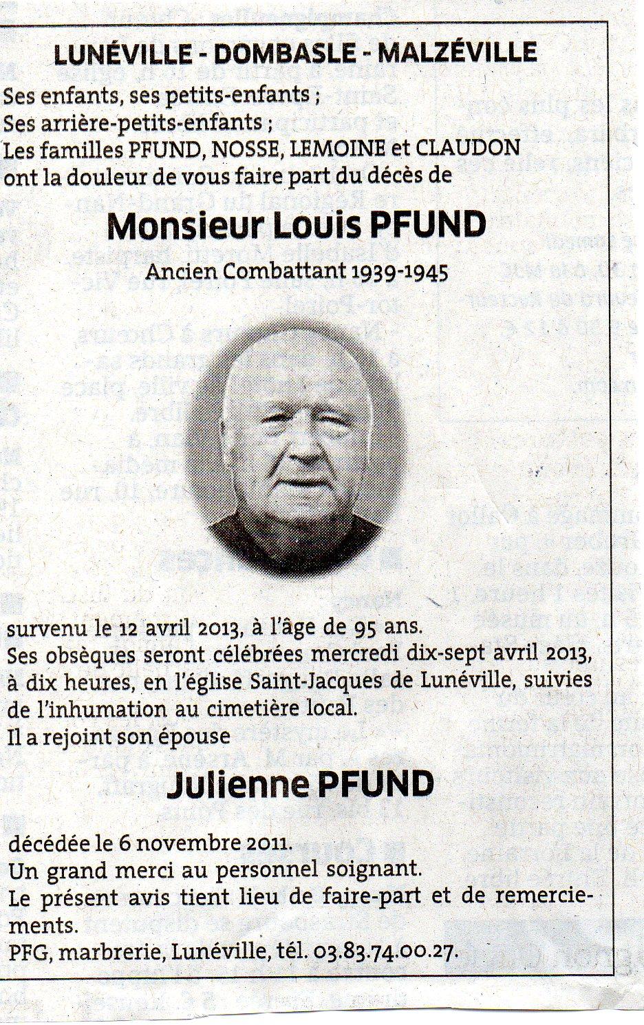 deces Louis Pfund