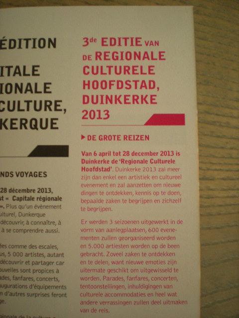 Duinkerke 2013, regionale culturele hoofdstad  13041809454614196111099927