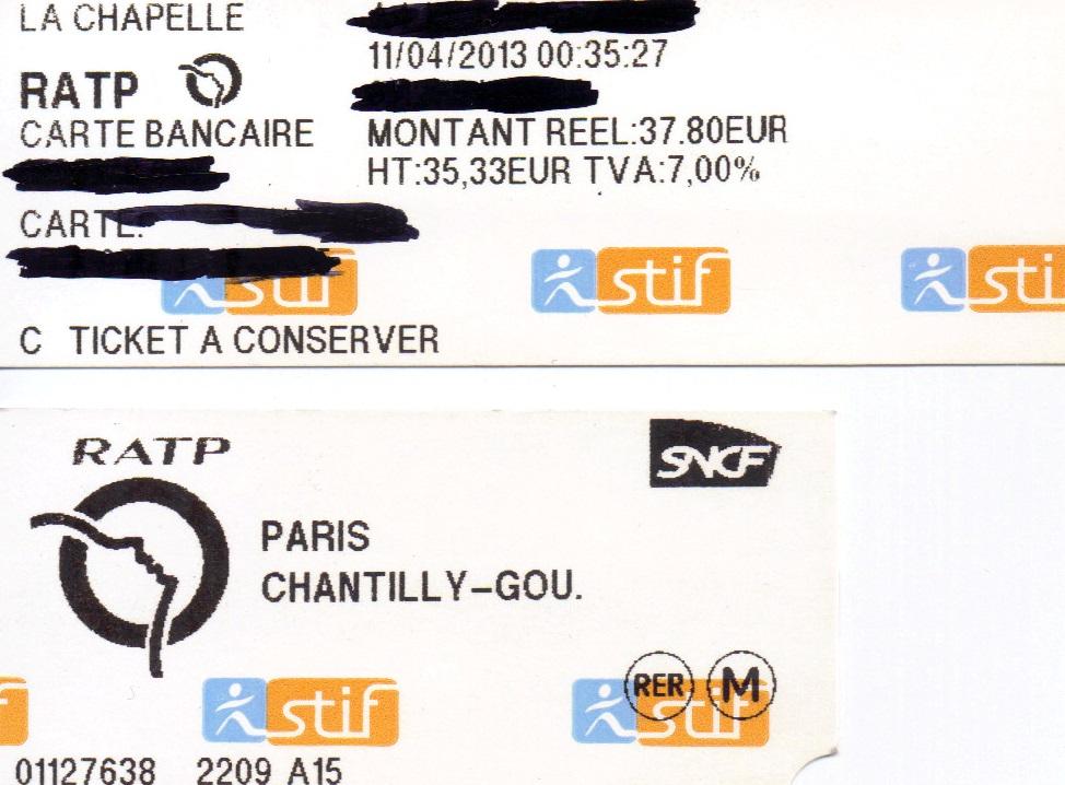 Ticket Paris-Chantilly 1