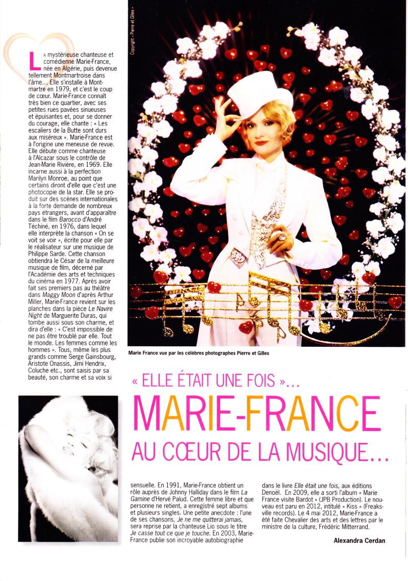 marie france au coeur de la musique dans le magazine paris montmartre t 2013. Black Bedroom Furniture Sets. Home Design Ideas