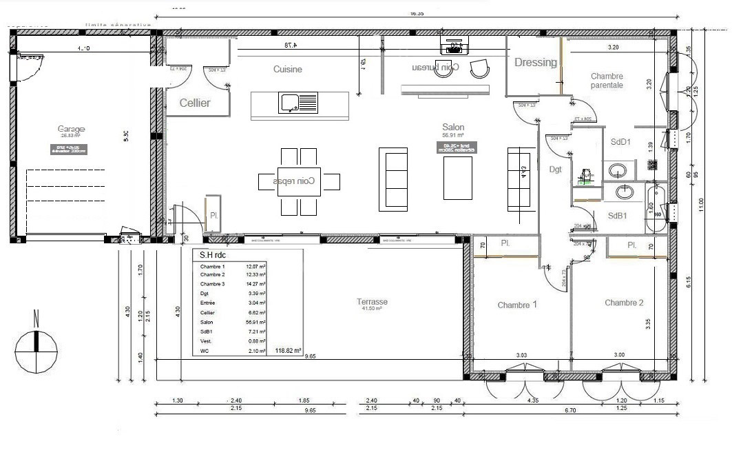 Avis plan de maison de 118m pour am nagement salle de bain 36 messages page 3 for Plan amenagement maison