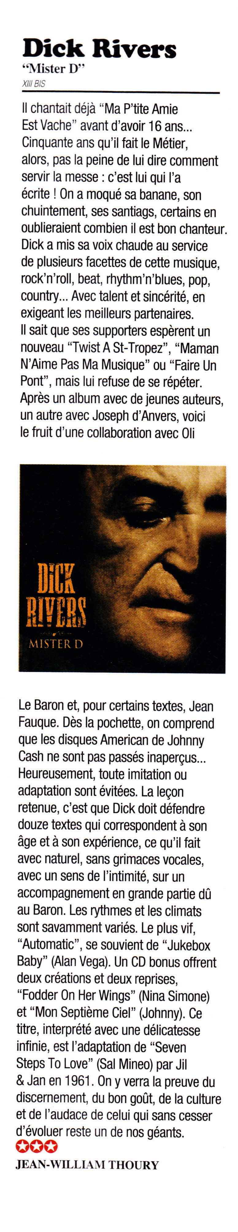 "DICK RIVERS ""Mister D Tour"" 2011/2013 : compte rendu (Casino de Paris, Olympia, Noisy, Clamart) 13082303164615789311487555"