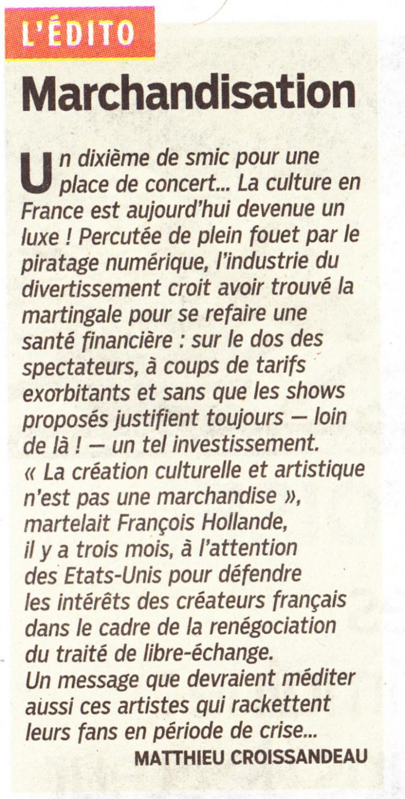 """« Boycottons les concerts trop chers » (""""Le Parisien"""", 14 septembre 2013) 13091404430416724011550557"""