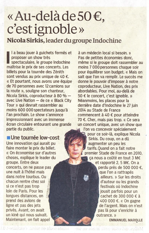 """« Boycottons les concerts trop chers » (""""Le Parisien"""", 14 septembre 2013) 13091404430516724011550563"""