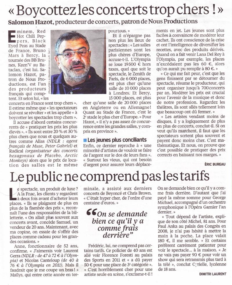 """« Boycottons les concerts trop chers » (""""Le Parisien"""", 14 septembre 2013) 13091404430516724011550566"""
