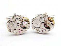 steampunk cufflinks vintage wyler watch movements gears mens wedding accessory silver cuff links clo-t66889