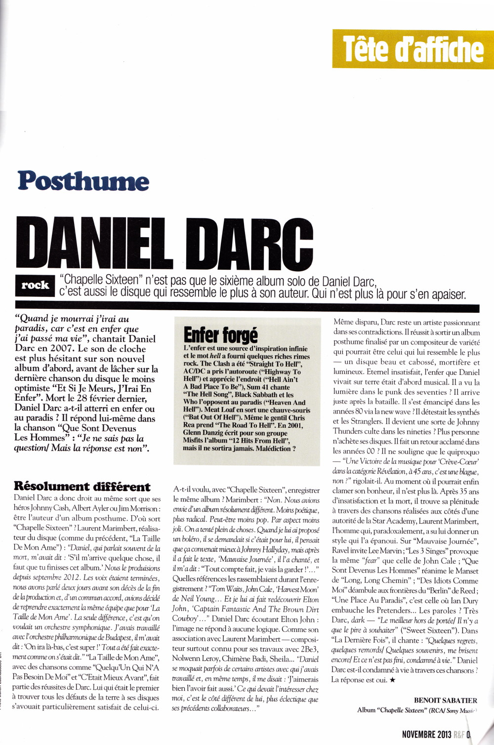 "DANIEL DARC 2013 par BENOIT SABATIER dans ""ROCK AND FOLK"" n°555 (novembre 2013) 13101909523616724011654984"