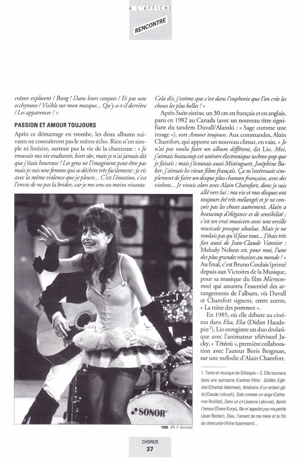"""Portrait/interview de LIO par DANIEL PANTCHENKO dans """"CHORUS"""" (été 2000) 13111012214516724011718822"""