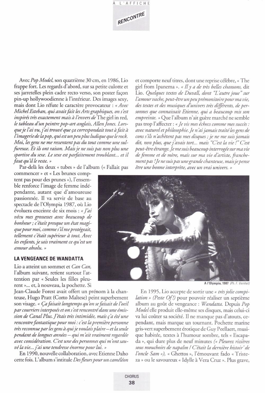 """Portrait/interview de LIO par DANIEL PANTCHENKO dans """"CHORUS"""" (été 2000) 13111012214616724011718824"""