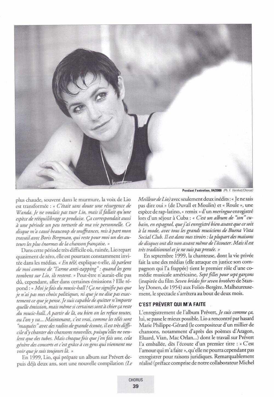 """Portrait/interview de LIO par DANIEL PANTCHENKO dans """"CHORUS"""" (été 2000) 13111012214616724011718826"""