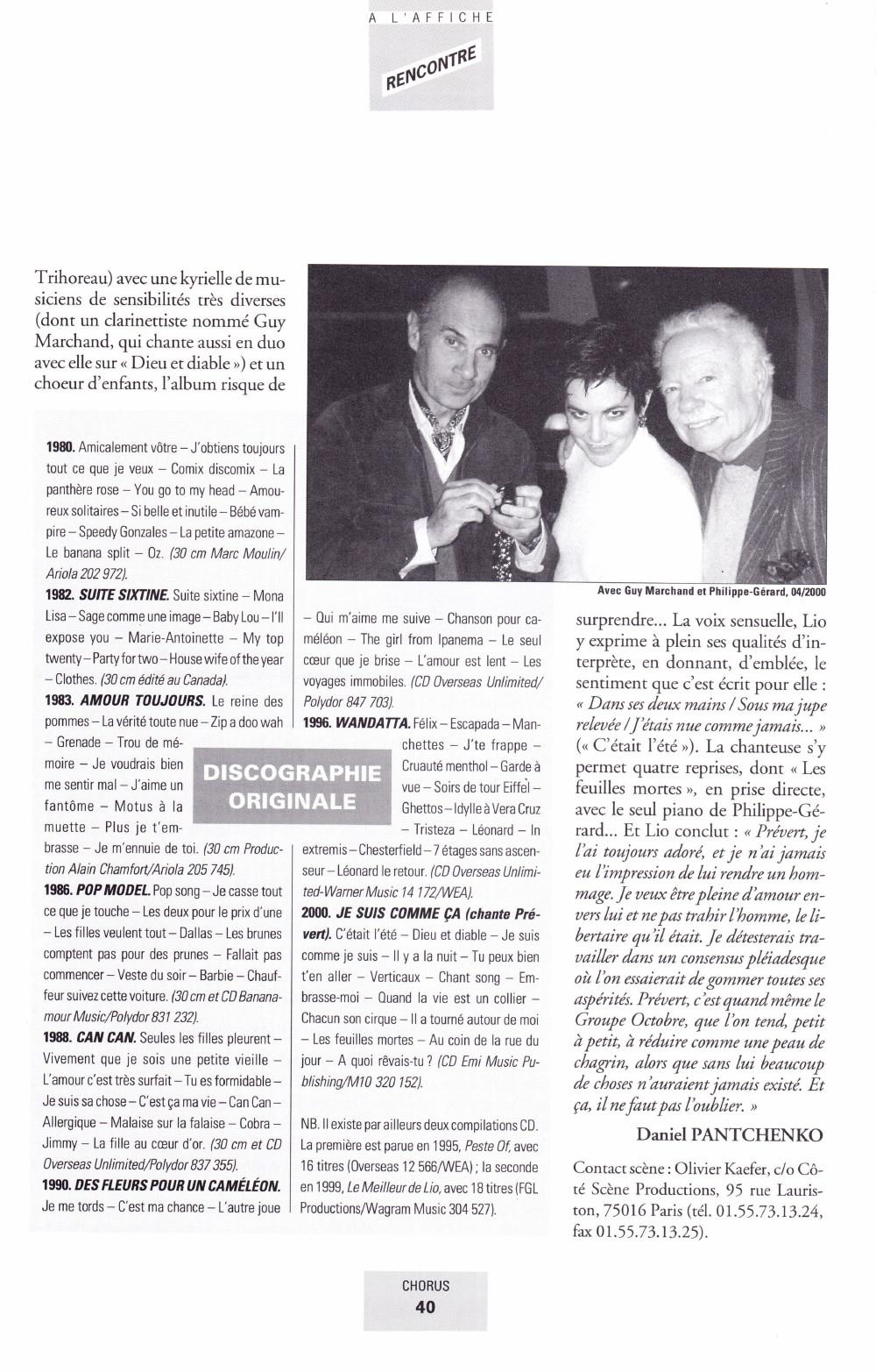"""Portrait/interview de LIO par DANIEL PANTCHENKO dans """"CHORUS"""" (été 2000) 13111012214616724011718827"""