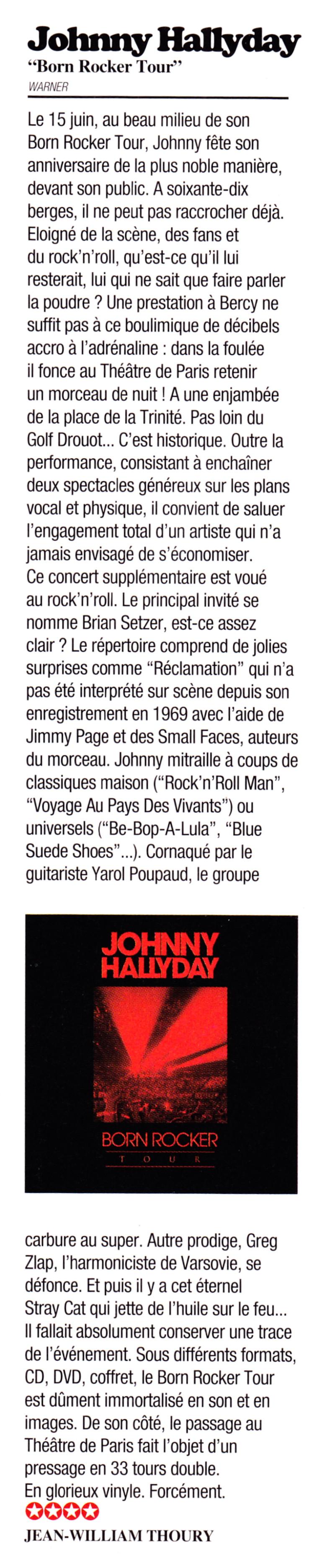 """Born Rocker Tour"" par Jean-William Thoury (""Rock Folk"", janvier 2014) 13121511200116724011819037"