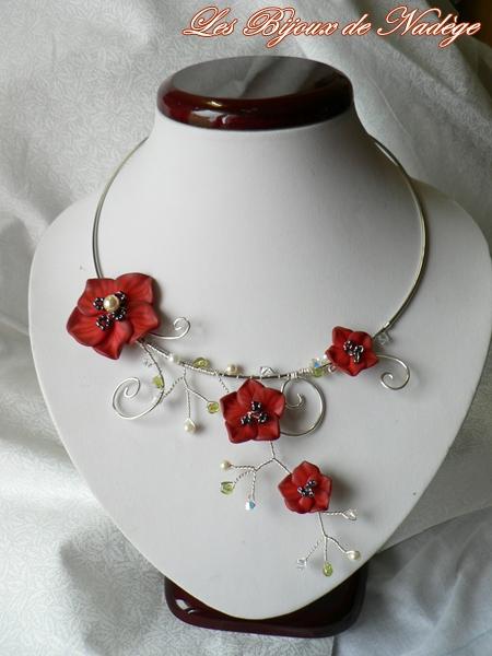 collier mariage création coquelicot fimo fleur
