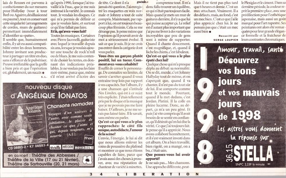 """""""L'Obispo-thérapie de Johnny"""" par Serge Loupien (""""Libération"""", 26 janvier 1998) 14011508212716724011902375"""