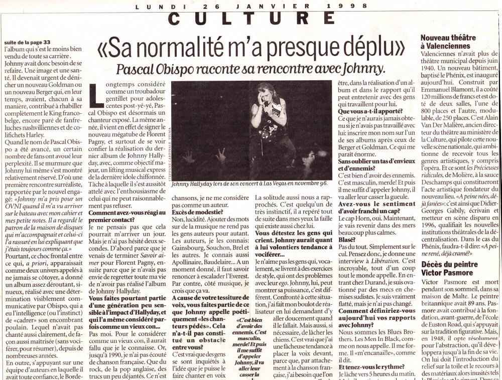 """""""L'Obispo-thérapie de Johnny"""" par Serge Loupien (""""Libération"""", 26 janvier 1998) 14011508212716724011902379"""