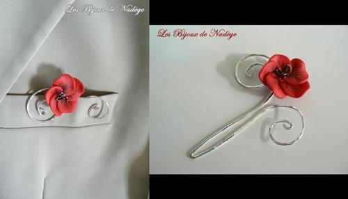 ornement bijou de poche fleur de coquelicot pour marié
