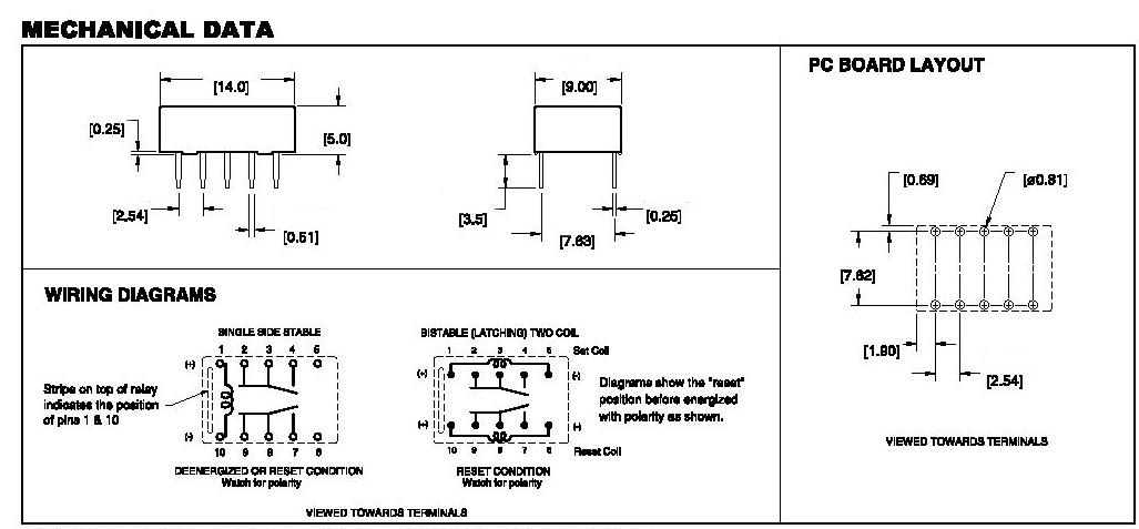 Relais bistable 2 bobines 12v