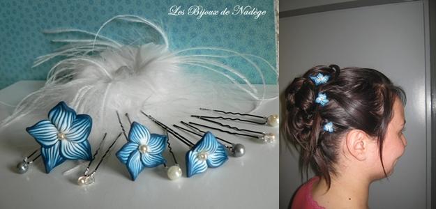 Pics à chignon mariage fleur bleue