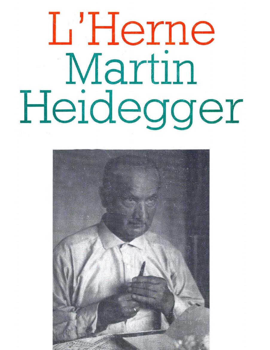 Heidegger, Cahier de L'Herne