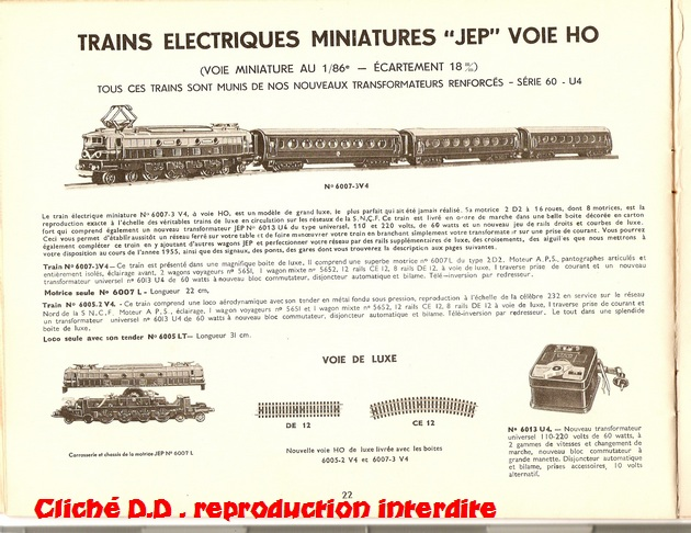 COFFRETS JEP  OO-HO de 1952 à 1959 série 60 14061103510616773112308857