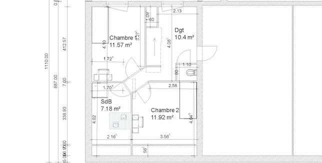 je vous mets le plan que lon a imagin pour ltage avec les dimensions de chaque pice et en dessous les hauteurs car la salle de bain sera sous pente - Idee Amenagement Salle De Bain Sous Comble