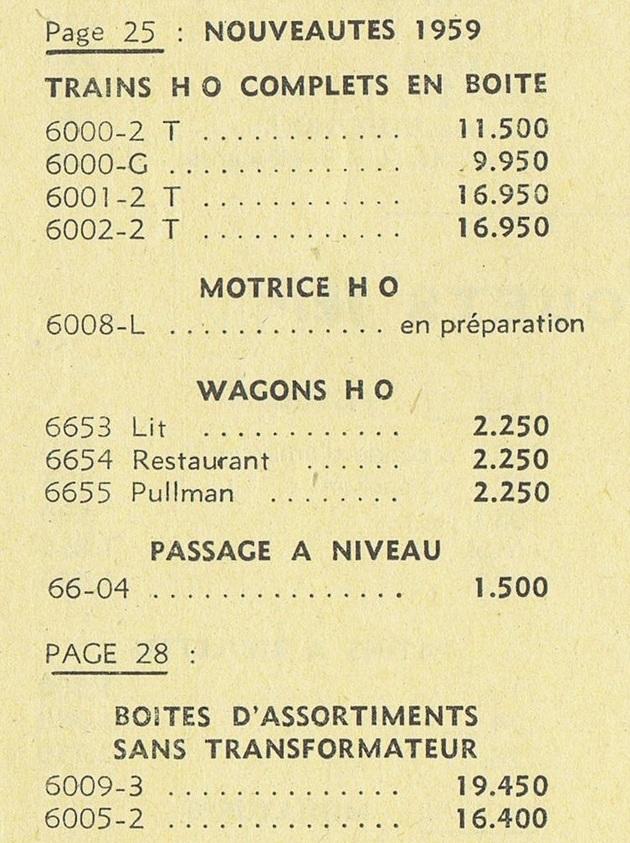 COFFRETS JEP  OO-HO de 1952 à 1959 série 60 14070609510616773112368663