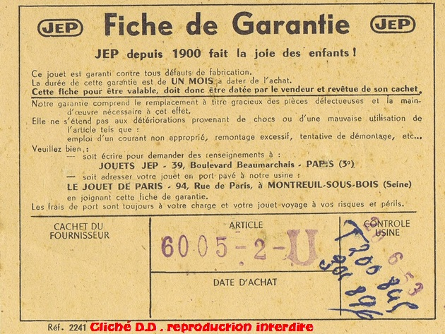 COFFRETS JEP  OO-HO de 1952 à 1959 série 60 14070611014416773112368901