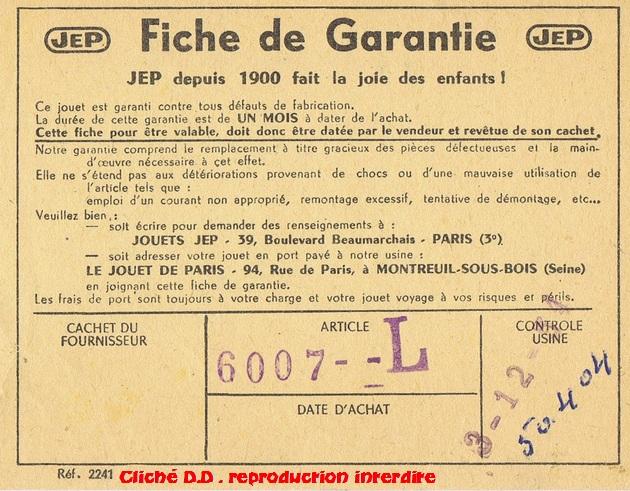COFFRETS JEP  OO-HO de 1952 à 1959 série 60 14070611014616773112368903