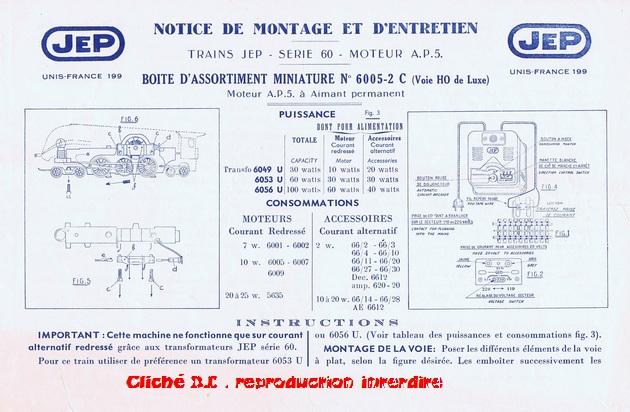 COFFRETS JEP  OO-HO de 1952 à 1959 série 60 14070611034916773112368928
