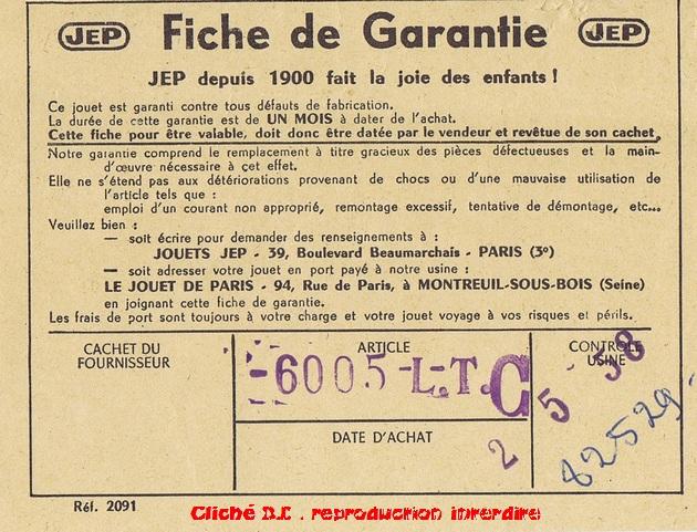 COFFRETS JEP  OO-HO de 1952 à 1959 série 60 14071101292616773112380099