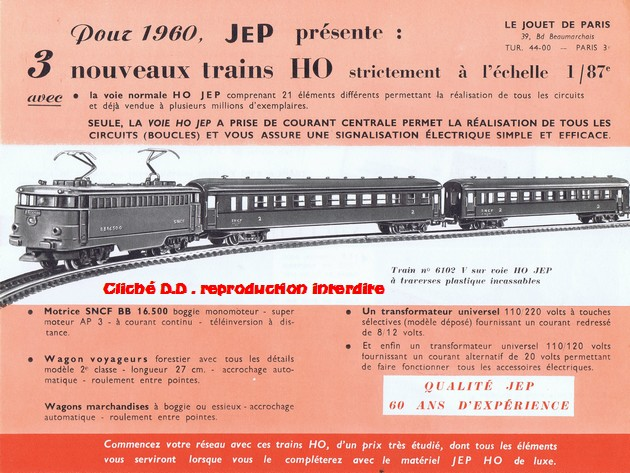 COFFRETS JEP HO de 1959 à 1964   -Avec le nouveau moteur AP5 Type 2-Avec le moteur  AP3 série 61 -Avec moteur mécanique 14071210373416773112381759