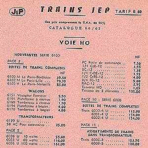 COFFRETS JEP HO de 1959 à 1964   -Avec le nouveau moteur AP5 Type 2-Avec le moteur  AP3 série 61 -Avec moteur mécanique 14071304265316773112384485