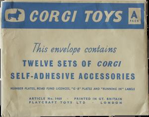 "Enveloppe d'adhésifs ""A"" Corgi-Toys"