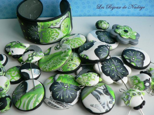 bijoux artisanaux ardennes en pâte polymère anis et gris