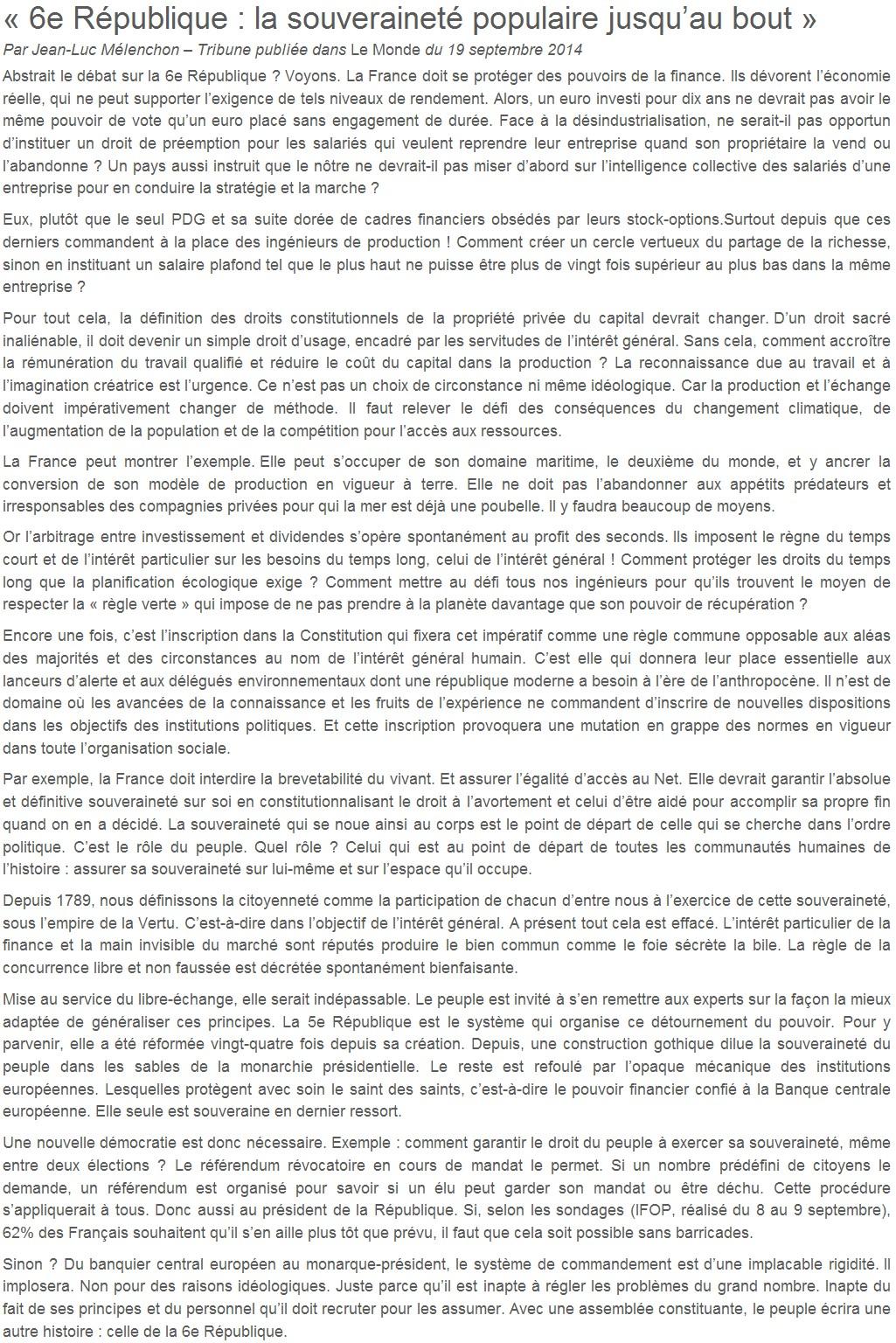 Je signe pour la 6e République + Déclaration de Marie George Buffet + Diverses signatures et appels (politiques, associatifs, intellectuels), signatures collectives (Socialistes affligés, militants PCF, Nouvelle Donne, syndicalistes)  14101607394317936712618672