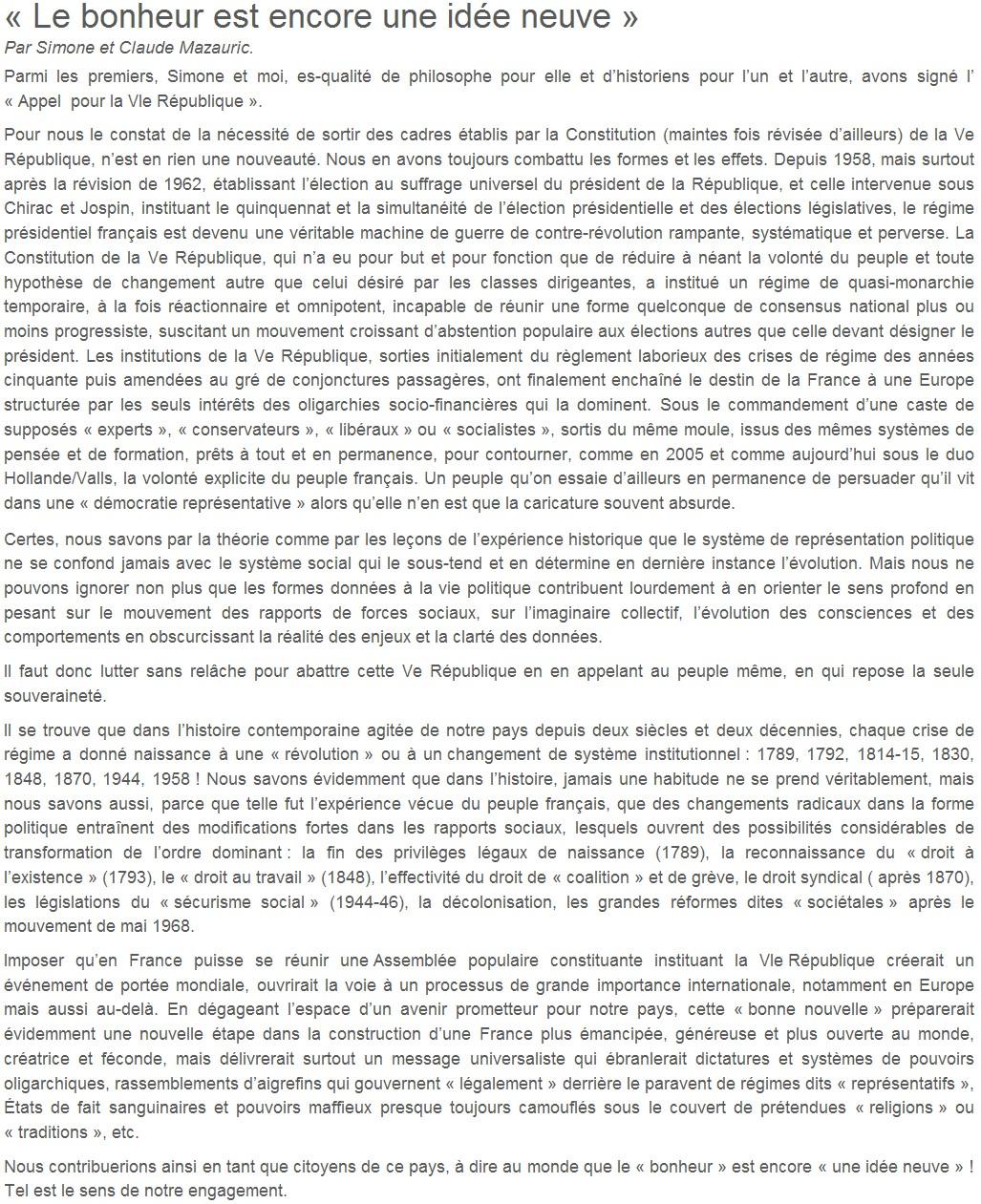 Je signe pour la 6e République + Déclaration de Marie George Buffet + Diverses signatures et appels (politiques, associatifs, intellectuels), signatures collectives (Socialistes affligés, militants PCF, Nouvelle Donne, syndicalistes)  14101709404717936712619925