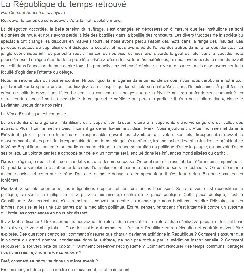 Je signe pour la 6e République + Déclaration de Marie George Buffet + Diverses signatures et appels (politiques, associatifs, intellectuels), signatures collectives (Socialistes affligés, militants PCF, Nouvelle Donne, syndicalistes)  14102208221117936712634611