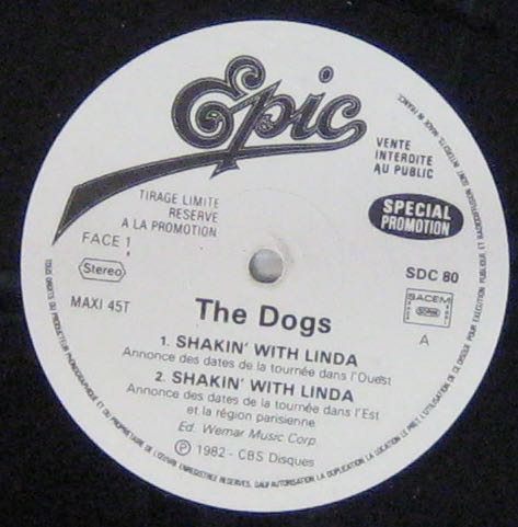 DOGS - Shakin' with Linda - 12 inch 45 rpm