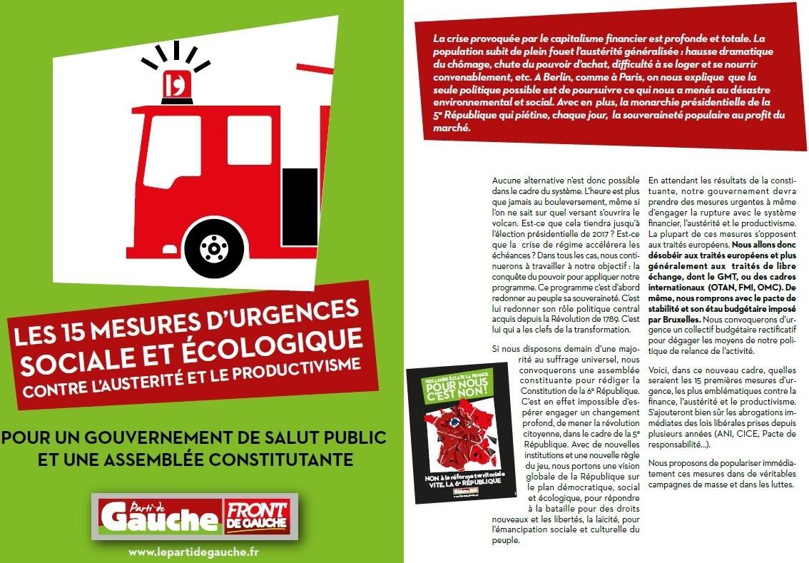 15 mesures d'urgence sociale et écologique contre l'austérité et le productivisme (Parti de Gauche) + Le PG entre en campagne avec 15 mesures d'urgence (Humanité) 14102301480217936712635927