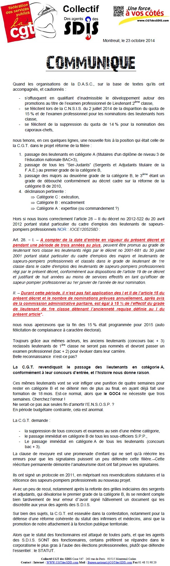 Communiqué du Collectif des agents des SDIS (CGT) 14102406441117936712639996