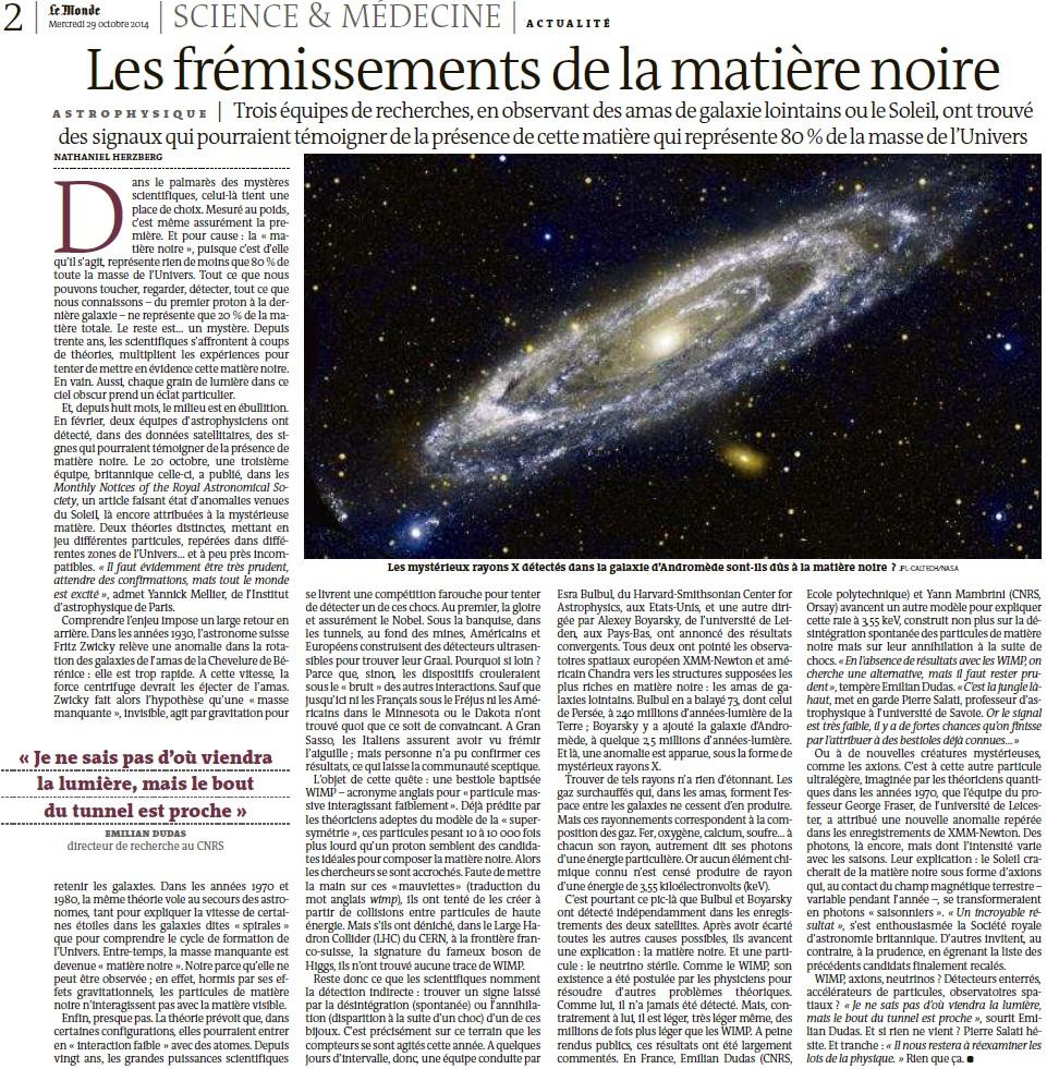 Les frémissements de la matière noire (Le Monde) 14102809532117936712653434