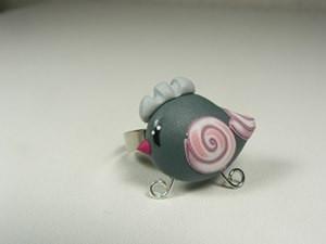 bague poule rose fimo bijoux