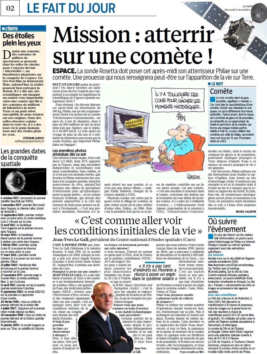 Rendez-vous historique dans l'espace (Parisien) + Philae : les premières images + Un repos bien mérité (Bien Public) 14111209570417936712698132