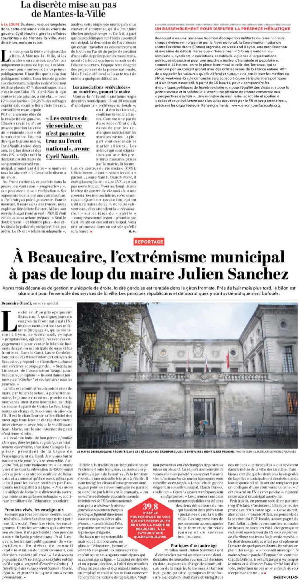 Marine Le Pen décroche les millions russes + Le salut fasciste de l'argentier de Marine Le Pen + Au FN, rien ne change + Front National : l'insulte aux Lyonnais (Parti de Gauche) + Discours social du Front National : la grande escroquerie (Humanité) 14112812310617936712746115