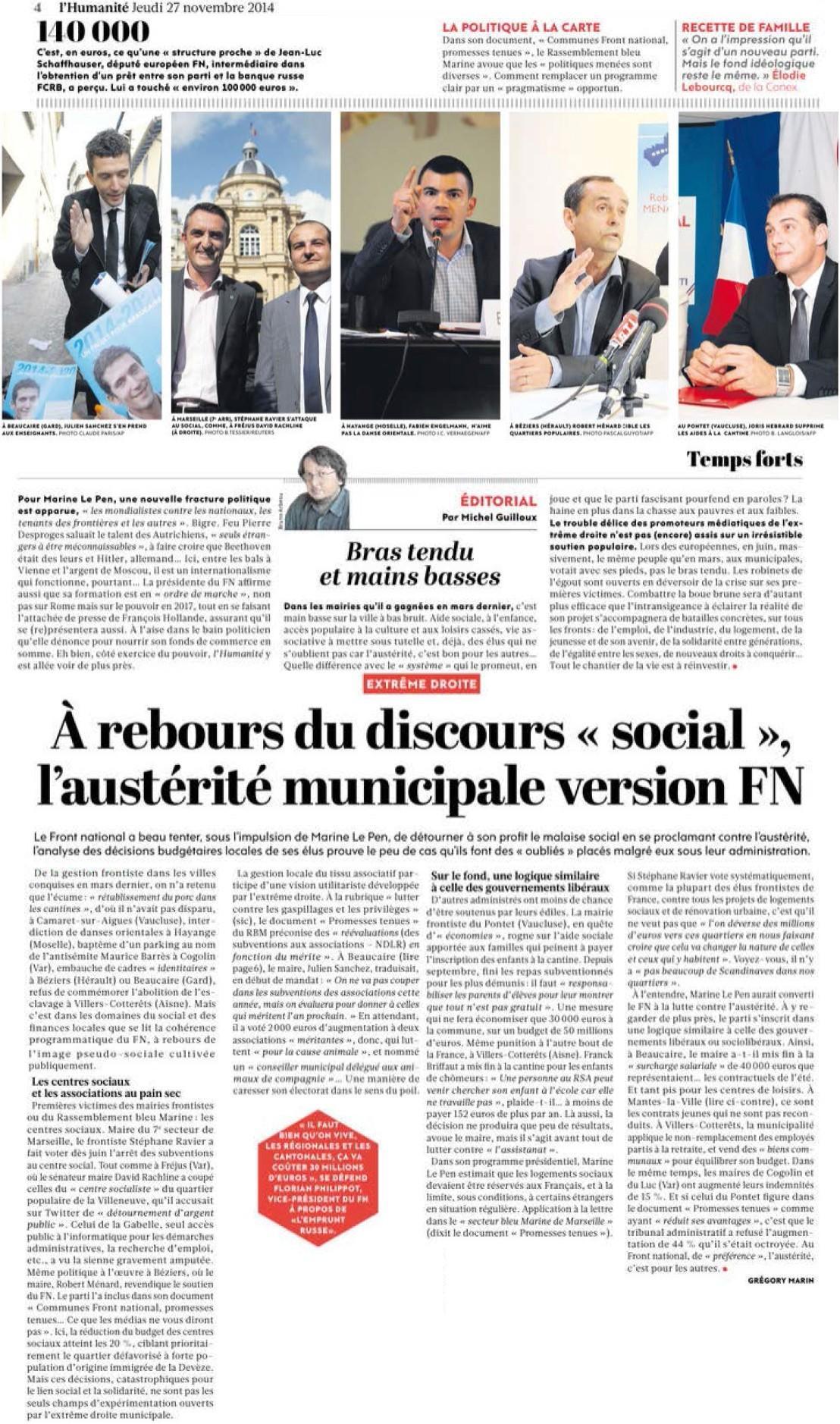 Marine Le Pen décroche les millions russes + Le salut fasciste de l'argentier de Marine Le Pen + Au FN, rien ne change + Front National : l'insulte aux Lyonnais (Parti de Gauche) + Discours social du Front National : la grande escroquerie (Humanité) 14112812311717936712746117