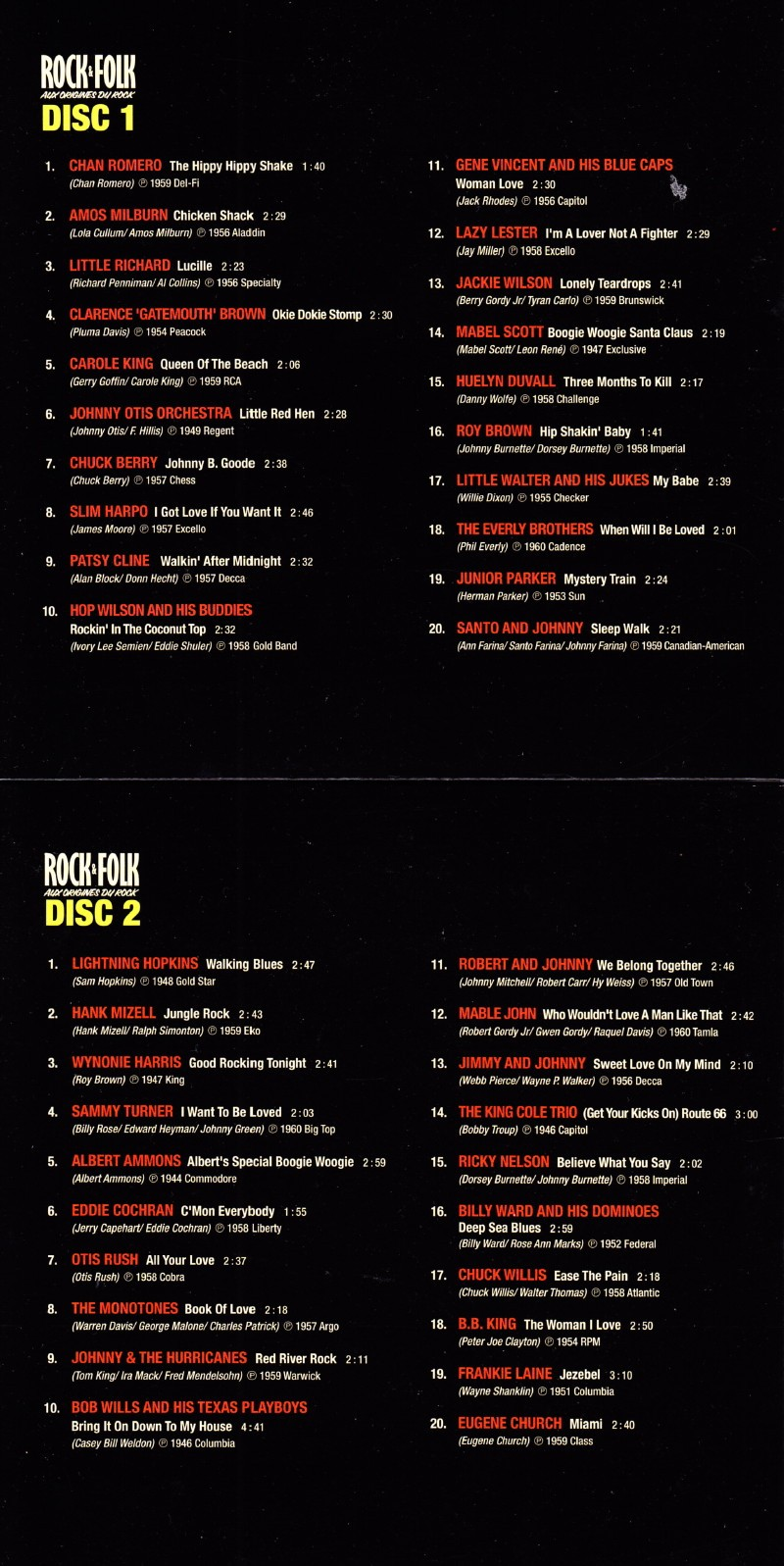 """Sélection de 200 titres par VINCENT PALMER (BIJOU) pour le coffret 10 CDs """"ROCK&FOLK : aux origines du rock"""" (Body & Soul/Wagram, 2011) 14121412174917899512793315"""
