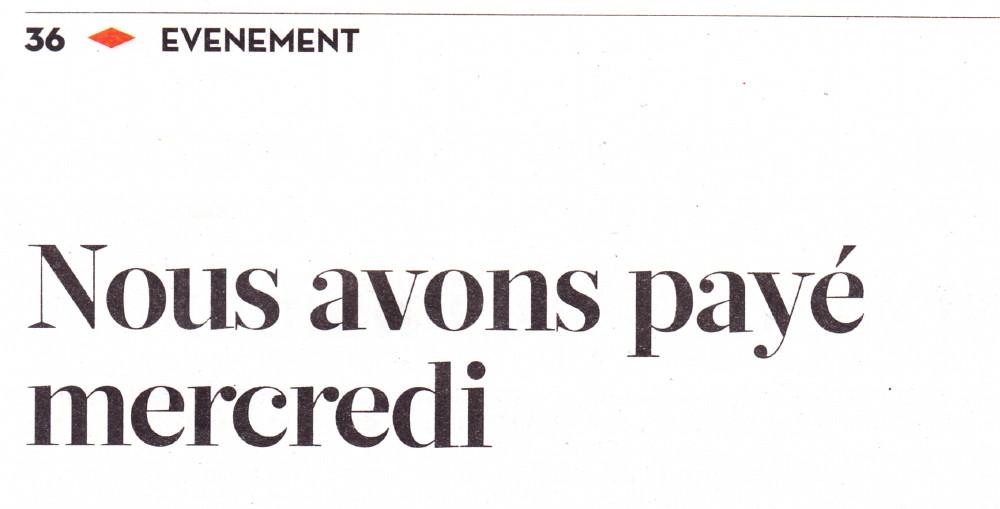 """« Nous avons payé mercredi » : LAURENT CHALUMEAU dans """"LIBERATION"""" (12 janvier 2015) 15011207203917899512869666"""